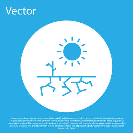 Blue Drought icon isolated on blue background. White circle button. Vector Illustration 向量圖像