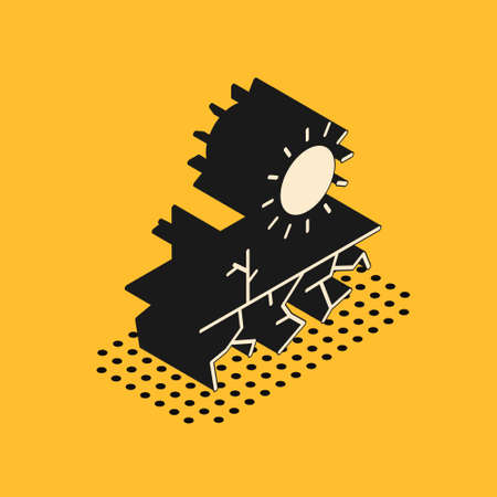 Isometric Drought icon isolated on yellow background. Vector Illustration 向量圖像