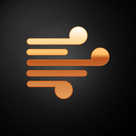 Gold Wind icon isolated on black background. Windy weather. Vector Illustration 向量圖像