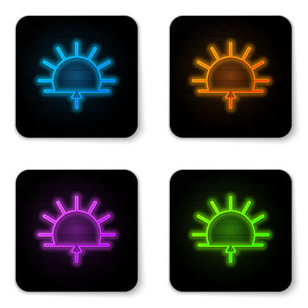 Glowing neon Sunrise icon isolated on white background. Black square button. Vector Illustration