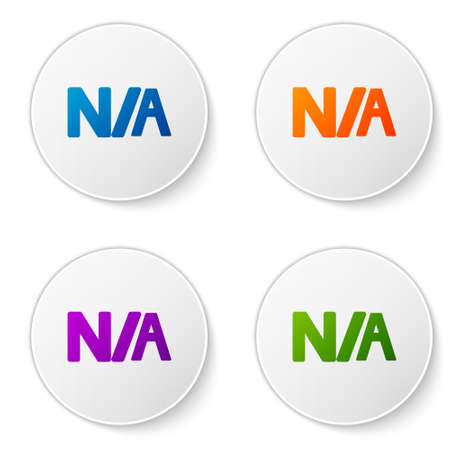 Color Not applicable icon isolated on white background. Set icons in circle buttons. Vector Illustration
