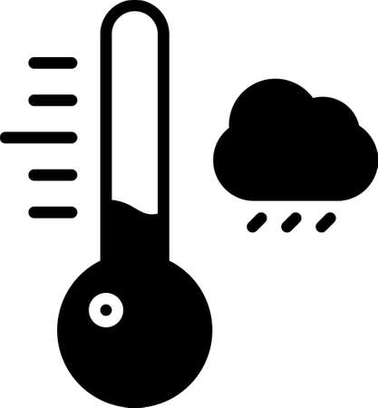 Black Meteorology thermometer measuring icon isolated on white background. Thermometer equipment showing hot or cold weather. Vector Illustration