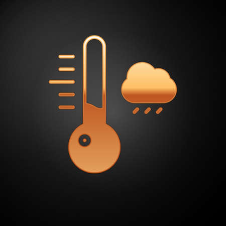 Gold Meteorology thermometer measuring icon isolated on black background. Thermometer equipment showing hot or cold weather. Vector Illustration