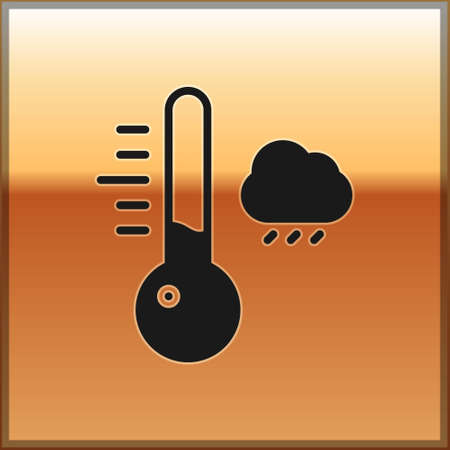 Black Meteorology thermometer measuring icon isolated on gold background. Thermometer equipment showing hot or cold weather. Vector Illustration