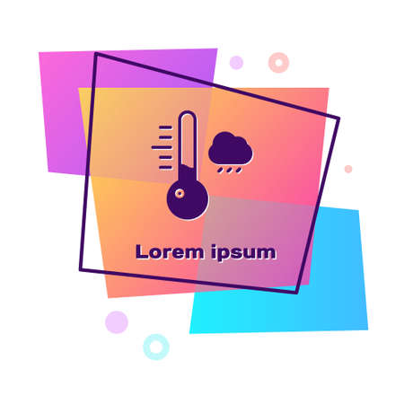 Purple Meteorology thermometer measuring icon isolated on white background. Thermometer equipment showing hot or cold weather. Color rectangle button. Vector Illustration Illusztráció