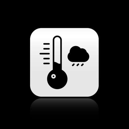 Black Meteorology thermometer measuring icon isolated on black background. Thermometer equipment showing hot or cold weather. Silver square button. Vector Illustration