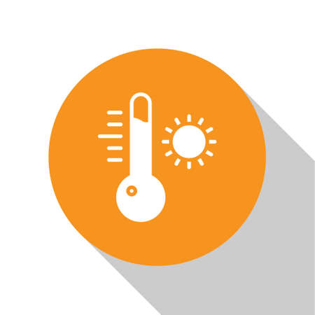 White Meteorology thermometer measuring icon isolated on white background. Thermometer equipment showing hot or cold weather. Orange circle button. Vector Illustration