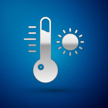 Silver Meteorology thermometer measuring icon isolated on blue background. Thermometer equipment showing hot or cold weather. Vector Illustration