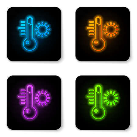 Glowing neon Meteorology thermometer measuring icon isolated on white background. Thermometer equipment showing hot or cold weather. Black square button. Vector Illustration