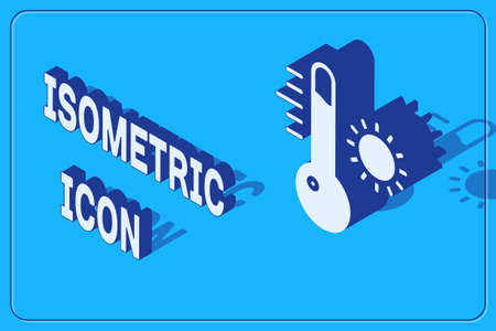 Isometric Meteorology thermometer measuring icon isolated on blue background. Thermometer equipment showing hot or cold weather. Vector Illustration Illusztráció
