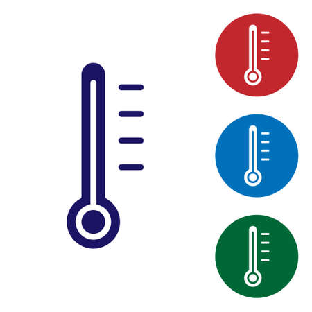 Blue Meteorology thermometer measuring icon isolated on white background. Thermometer equipment showing hot or cold weather. Set icons in color square buttons. Vector Illustration