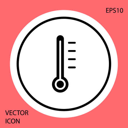 Black Meteorology thermometer measuring icon isolated on red background. Thermometer equipment showing hot or cold weather. White circle button. Vector Illustration Illusztráció