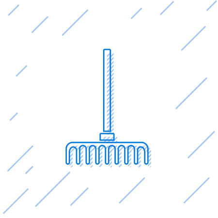 Blue line Garden rake icon isolated on white background. Tool for horticulture, agriculture, farming. Ground cultivator. Vector