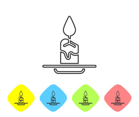 Grey line Aroma candle icon isolated on white background. Set icons in color rhombus buttons. Vector
