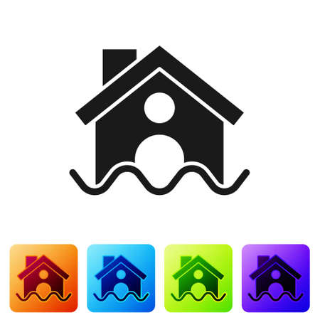Black House flood icon isolated on white background. Home flooding under water. Insurance concept. Security, safety, protection, protect concept..