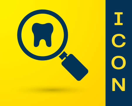 Blue Dental search icon isolated on yellow background. Tooth symbol for dentistry clinic or dentist medical center. Vector