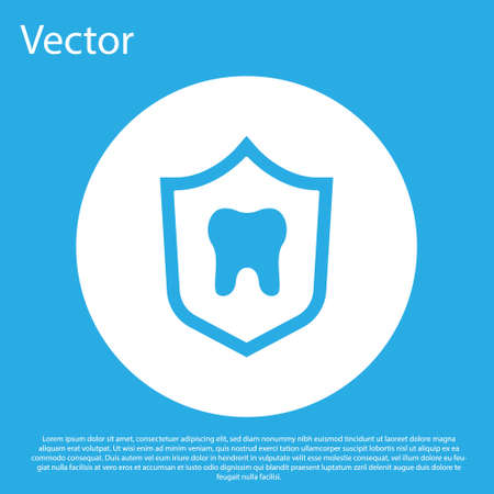 Blue Dental protection icon isolated on blue background. Tooth on shield . White circle button. Vector