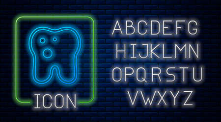 Glowing neon Tooth with caries icon isolated on brick wall background. Tooth decay. Neon light alphabet. Vector