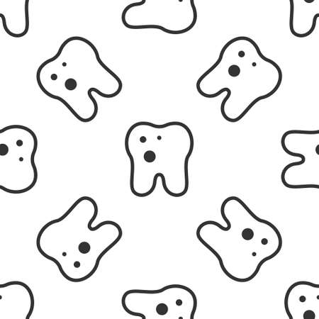Grey Tooth with caries icon isolated seamless pattern on white background. Tooth decay. Vector