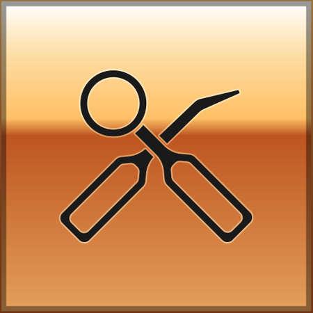 Black Dental inspection mirror and explorer scaler icon isolated on gold background. Tool dental checkup. Vector Ilustração