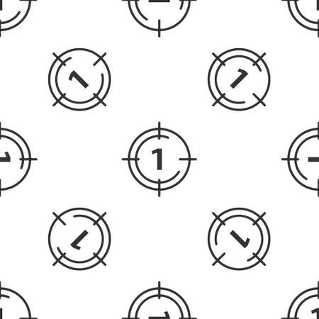 Grey Old film movie countdown frame icon isolated seamless pattern on white background. Vintage retro cinema timer count. Vector Vecteurs