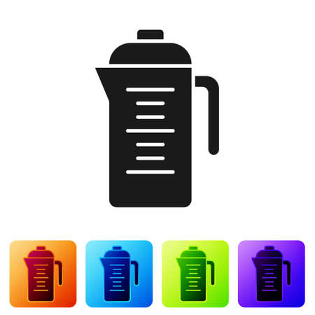 Black Teapot icon isolated on white background. Set icons in color square buttons. Vector Çizim