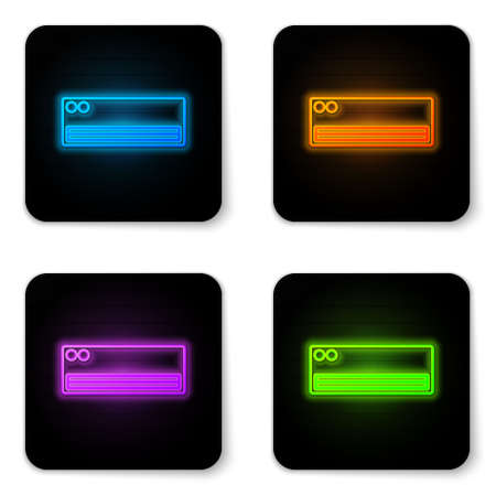 Glowing neon Air conditioner icon isolated on white background. Split system air conditioning. Cool and cold climate control system. Black square button. Vector