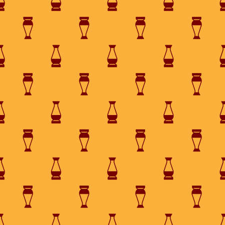 Red Indian vase icon isolated seamless pattern on brown background. Vector Çizim