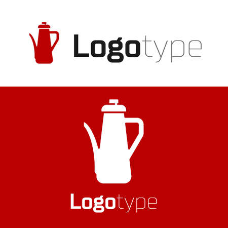 Red Teapot icon isolated on white background. Logo design template element. Vector
