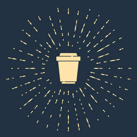 Beige Coffee cup to go icon isolated on blue background. Abstract circle random dots. Vector
