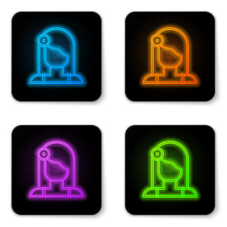 Glowing neon Portrait of Spanish woman icon isolated on white background. Black square button. Vector