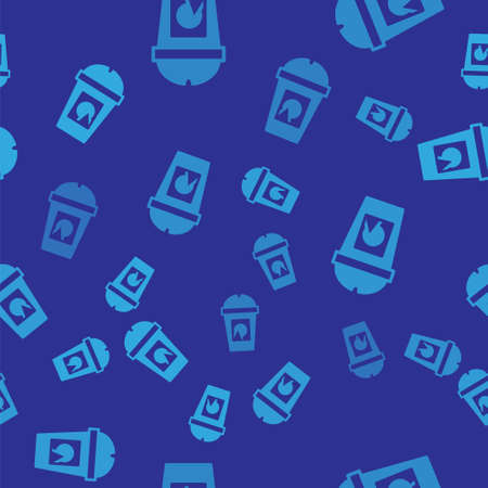 Blue Coffee cup to go icon isolated seamless pattern on blue background. Take away print. Vector