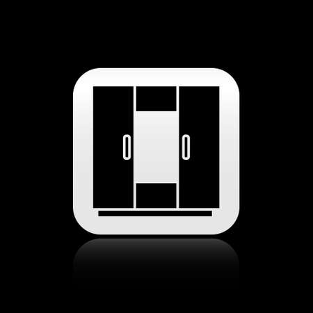 Black Wardrobe icon isolated on black background. Silver square button. Vector Stock Illustratie
