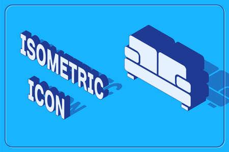 Isometric Sofa icon isolated on blue background. Vector
