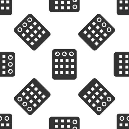 Grey Drum machine icon isolated seamless pattern on white background. Musical equipment. Vector