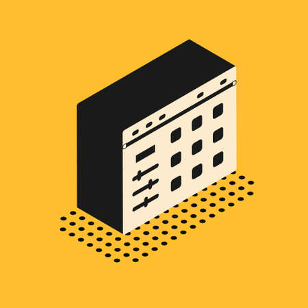 Isometric Drum machine icon isolated on yellow background. Musical equipment. Vector Çizim