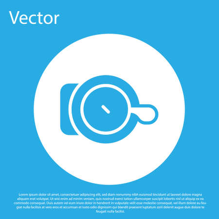 Blue Bicycle bell icon isolated on blue background. White circle button. Vector