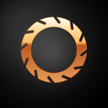 Gold Bicycle wheel tire icon isolated on black background. Bike race. Extreme sport. Sport equipment. Vector