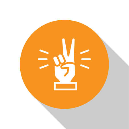 White Hand showing two finger icon isolated on white background. Victory hand sign. Orange circle button. Vector