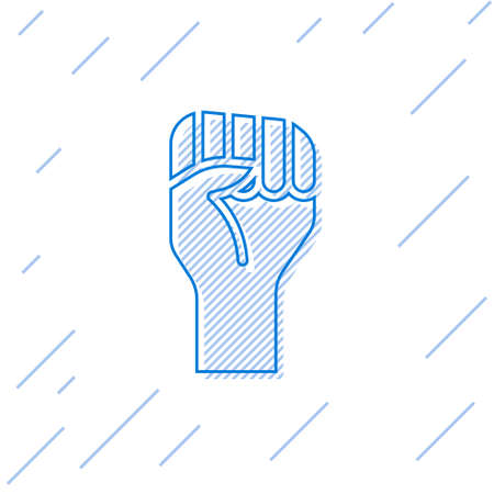 Blue line Raised hand with clenched fist icon isolated on white background. Protester raised fist at a political demonstration. Empowerment. Vector 向量圖像