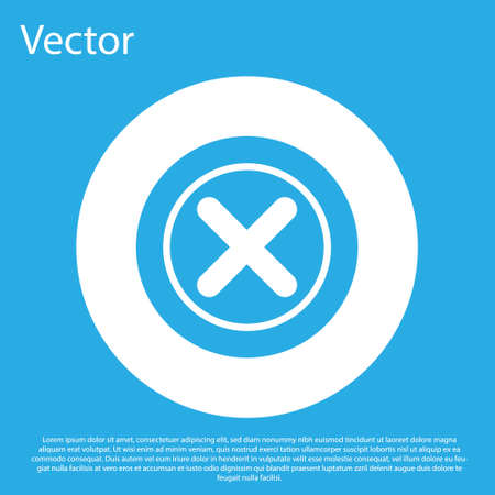 Blue X Mark, Cross in circle icon isolated on blue background. Check cross mark icon. White circle button. Vector