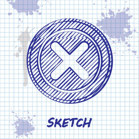 Sketch line X Mark, Cross in circle icon isolated on white background. Check cross mark icon. Vector