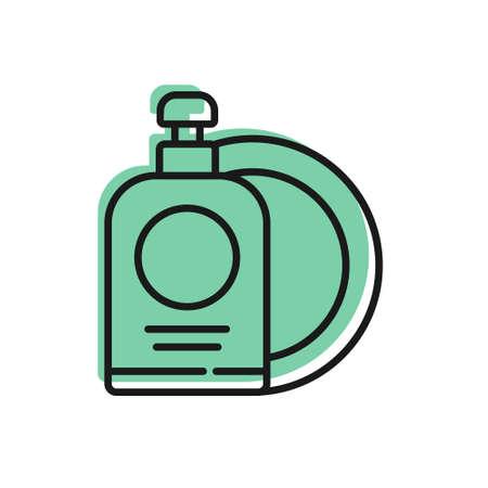 Black line Dishwashing liquid bottle and plate icon isolated on white background. Liquid detergent for washing dishes. Vector Illustration