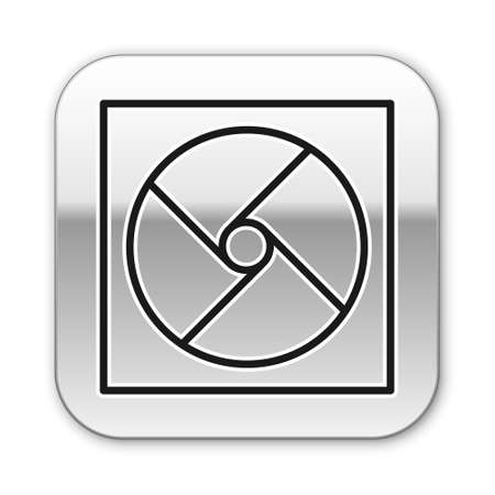 Black line Ventilation icon isolated on white background. Silver square button. Vector Illustration