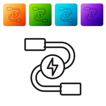 Black line Car battery jumper power cable icon isolated on white background. Set icons in color square buttons. Vector