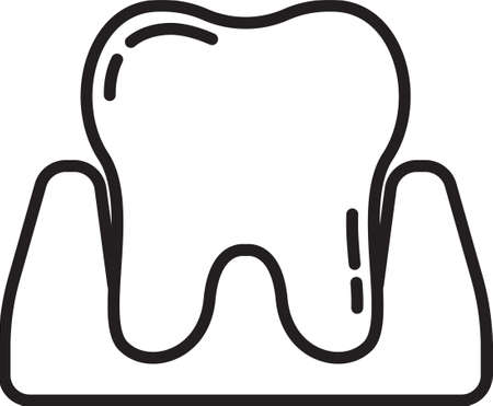Black line Tooth icon isolated on white background. Tooth symbol for dentistry clinic or dentist medical center and toothpaste package. Vector