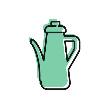 Black line Teapot icon isolated on white background. Vector