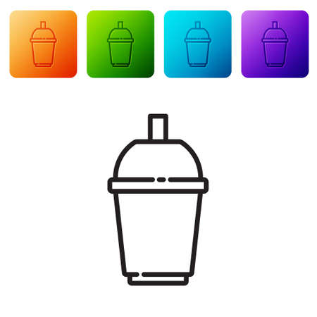 Black line Coffee cup to go icon isolated on white background. Set icons in color square buttons. Vector 矢量图像