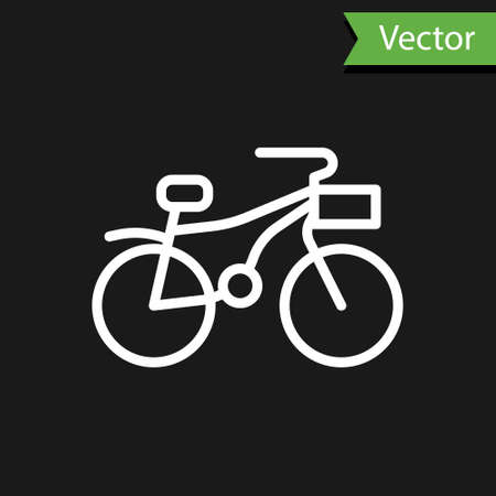 White line Bicycle icon isolated on black background. Bike race. Extreme sport. Sport equipment. Vector