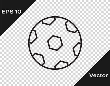 Black line Football ball icon isolated on transparent background. Soccer ball. Sport equipment. Vector